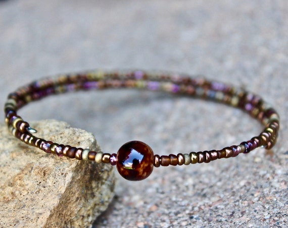 Mahogany Beaded Bangle Bracelet