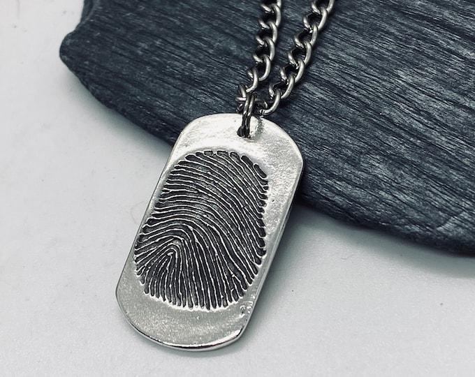 Fingerprint Charm in Dog Tag Shape