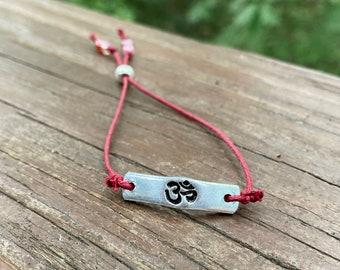 Aum Yoga Bracelet, Aum Bracelet, Adjustable Bracelet, Inspirational Jewelry, Inspirational Gift, Yoga Yogi Uplifting Motivational Gift, Boho