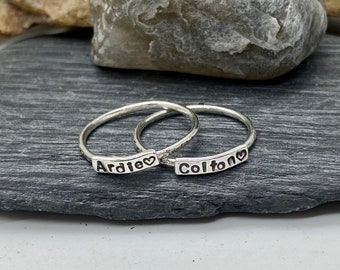 Sterling Silver Stackable Name Rings