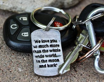 Father's Day Gift, add quote, bible verse, or special meaningful message, Silver Keychain with stamped phrase or personal message keychain