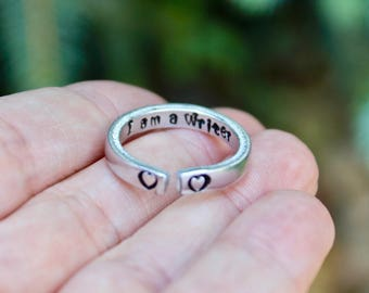 Writer Ring, I am a Writer Stackable adjustable ring, jewelry for writers, Gift for Writers, Writer Ring, Ring for Writers, I am a writer