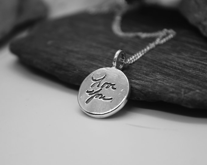 Handwriting Charm, Sterling Silver Handwriting Charm, Pressed Deep into the Metal, Silver Bail Loop Charm, Real Handwritten Message Jewelry