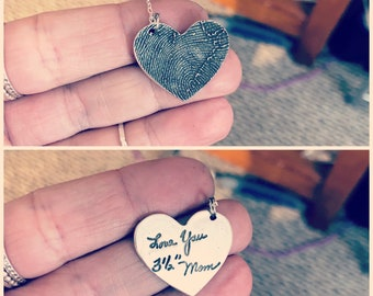 Fingerprint Heart Charm, Heart Shaped Thumbprint Charm, Fingerprint Charm Created from Image of Thumbprint, Heart Shaped Sterling Silver