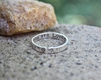 Sterling Silver You are Loved Inspirational Ring
