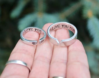 d5a903b5f9 Couple Rings, Rings for Boyfriend and Girlfriend, I love you, I love you  more, Couple Jewelry, Jewelry for couples, Customize Rings, Love