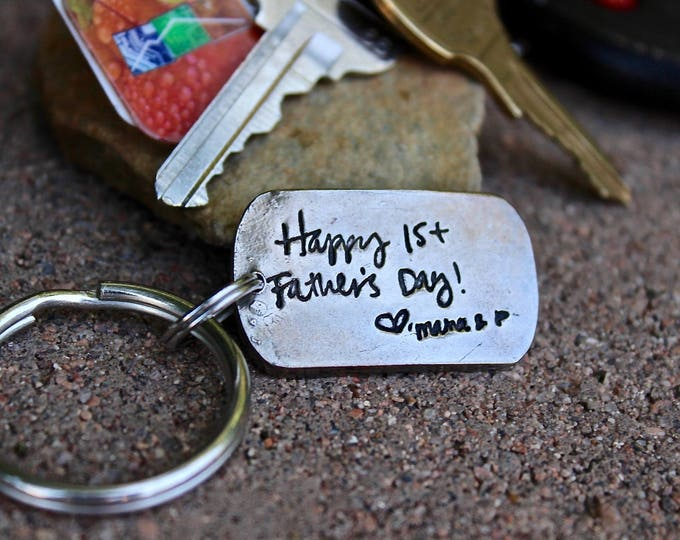 Father's Day Gift, handwriting keychain dad, pressed into metal not simply engraved, fathers day gift Father's day gift Handwriting Keychain