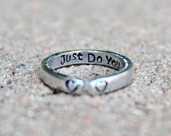 Inspirational Ring, Just Do You, Adjustable Ring, Inspirational Jewelry, Stackable Rings, Just do you, Boho Yoga Ring, Inspiration Jewelry