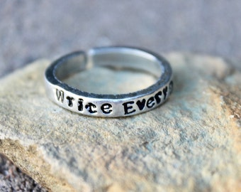Gift for Writer, Write Every Day, Adjustable Ring, Writer Jewelry, Stackable Ring, Gift for Writers, Everyday Inspiration, Write Every Day