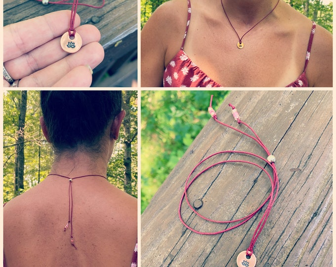 Lotus Copper Charm, Adjustable Wax Cord Chain, Sterling Silver Adjustable Chain, Lotus Yoga Inspired Charm with Adjustable Chain, Glass Bead