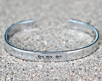 Mother of the Groom Gift, Bangle Bracelet, Thank you for Raising the Man of My Dreams stamped inside, 3 Hearts, Gift for Mother in Law,