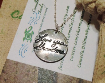 Handwriting Charm, Sterling Silver Handwriting Charm, Pressed Deep into the Metal, Not Simply Engraved, Real Handwritten Message Jewelry