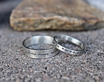 Couples Morse Code Rings, Couple's Rings, Initials Rings for Couples, Couples Rings Morse Code, Unisex Rings, Couple's Ring set Morse Code