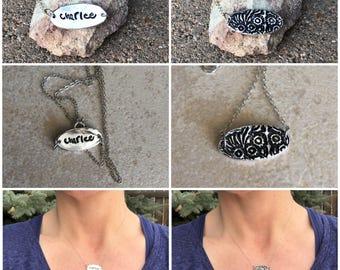 Handwriting Necklace, Solitary Handwriting Charm, Sterling Silver Handwriting Charm, Real Handwriting Necklace, Memorial Signature Necklace