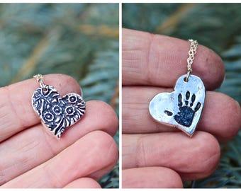 Handprint Charm, Real Hanprint Charm, Mother Jewelry, Handprint Heart, Handprint Charm, Texture Charm Sterling Silver, Real Handprint Charm