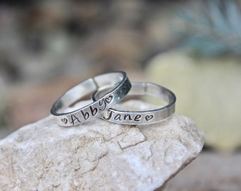 Sterling Silver Name Ring, Stackable and Adjustable, One Ring Per Order