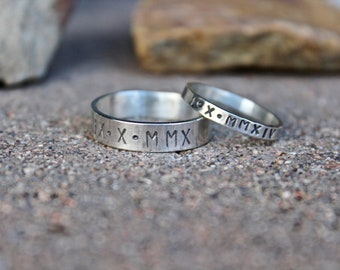 Anniversary Ring for Couples, Couple's Rings, Solid Sterling Silver Bands, Roman Numeral Date Anniversary Ring, Father's Day gift idea