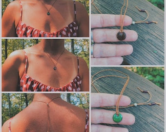 Brown and Green Reversible Glass Charm, Adjustable Wax Cord Chain, Sterling Silver Adjustable Chain, Reversible Charm, Enamel Charm Necklace