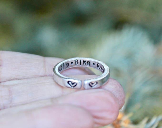 Tri Ring, Gift for Triathlon, Triathlon Ring, swim bike run Ring, Tri Swim Bike Run Ring, Swim Bike Run Silver Ring, Swim Bike Run Jewelry