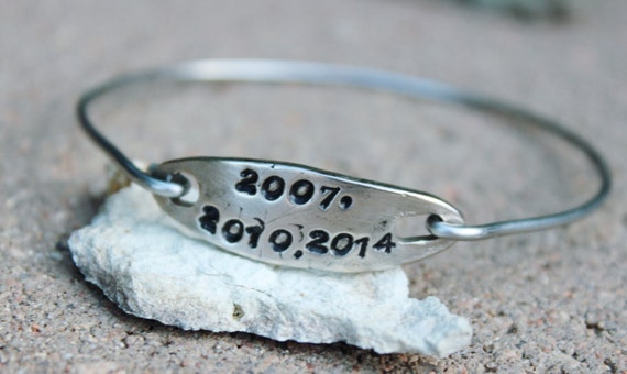 Important Years Bangle Bracelet / Years Bangle Bracelet /  Charm Bangle Bracelet / Gift for Girlfriend / Most Important Years Bangle