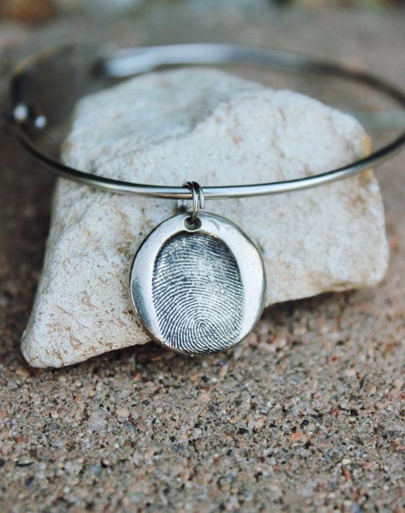 Fingerprint Bracelet, Fingerprint Bangle Bracelet Silver, Stainless Steel Bangle Fingerprint Charm, Mantra Bangle Bracelet, Fingerprint cuff
