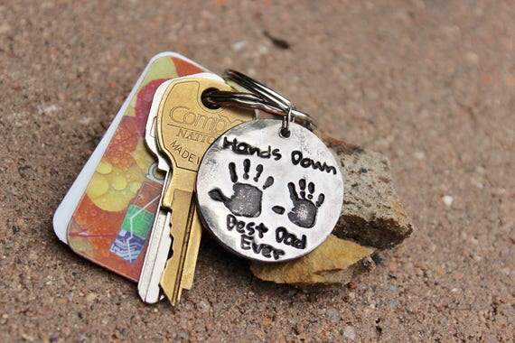 Gift for Dad, Real Handprints Keychain, Handprint Keychain, Gift for Father, Hands Down Best Dad Ever, real kids' handprints, Best Dad Ever