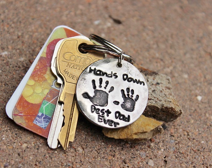 Gift for Dad, Real Handprints Keychain, Handprint Keychain, Gift for Father, Hands Down Best Dad Ever, real kids' handprints, Father's Day