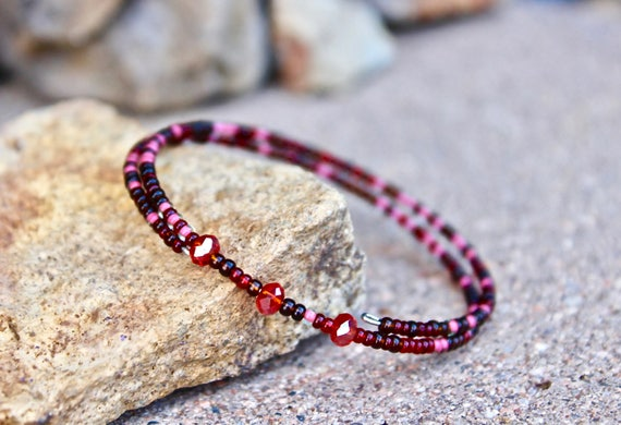 Red Beaded Boho Wrap Bracelet