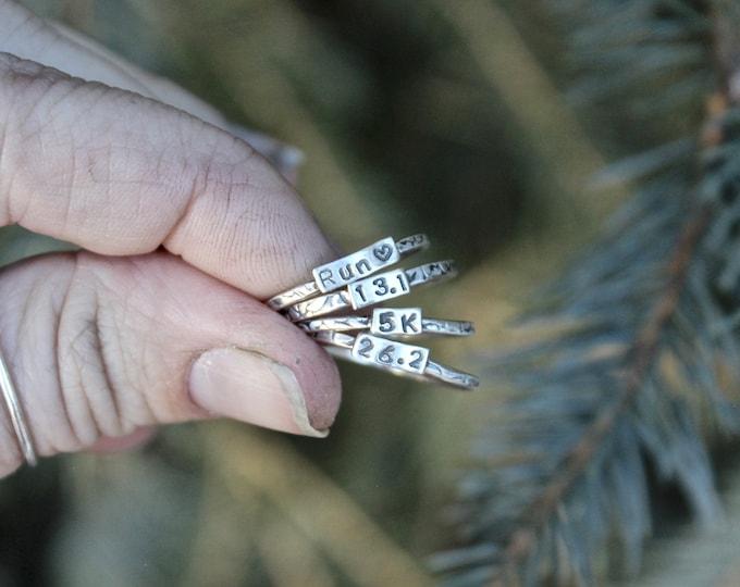 Ring for Runner, Runner Ring, Gift for Runner, Marathon Ring, Sterling Silver Stacking Ring, Silver Runner Ring, 5K Silver Ring, 10K Silver