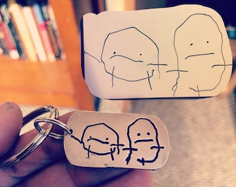 Child's Drawing Keychain, Artwork pressed deep into metal (not simply engraved), Great gift for Dad, Father's Day Gift