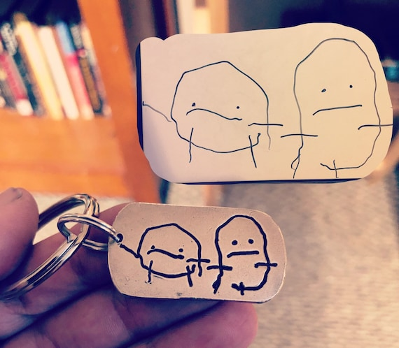 Child's Drawing Keychain, Artwork pressed deep into metal (not simply engraved), Great gift for Dad, Mom or Grandparents