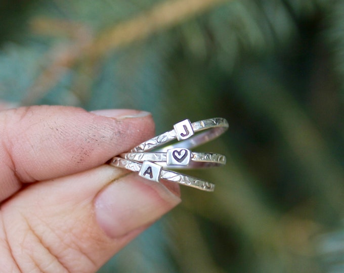 Initial Rings in Sterling Silver, Tiny Initial Rings in Sterling Silver, Stacking Initial Rings, Dainty Monogram Rings, Tiny Letter ring