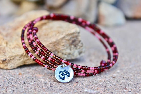 Red Czech Beaded Wrap Bangle