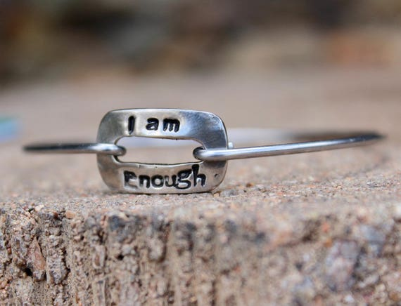 I am Enough Mantra Bangle Bracelet, Mantra Jewelry, Motivational Gift, Motivational Jewelry, inspirational gift, Bangle Bracelet with Charms