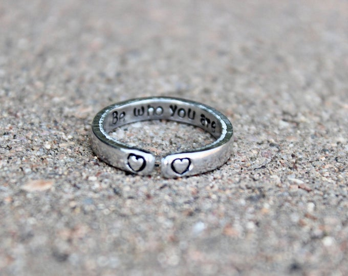 Be Who You Are Mantra Ring, Adjustable Ring, Hand-Stamped Heart Ring, Stackable Ring, Secret Message Stamped Inside, Inspirational Ring