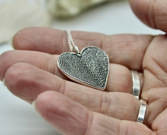 Two Fingerprints Heart Charm, fingerprint jewelry, fingerprint heart necklace, couples jewelry, couples necklace, Memorial Fingerprint Charm