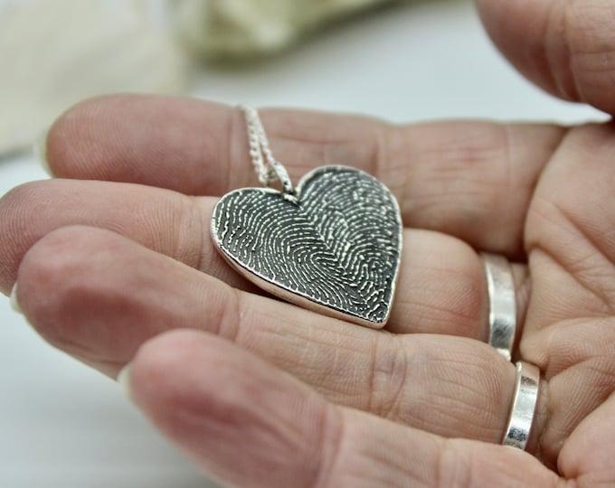 Two Fingerprints Heart Charm, fingerprint jewelry, fingerprint heart necklace, couples jewelry, couples necklace, Memorial Fingerprint Charm