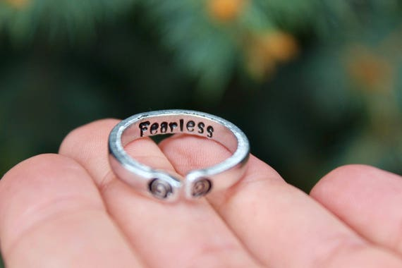 Fearless Ring, Adjustable Ring, Inspirational Fearless Ring, Stackable Ring, Inspirational ring, Be Fearless Jewelry, Gift for Inspiration