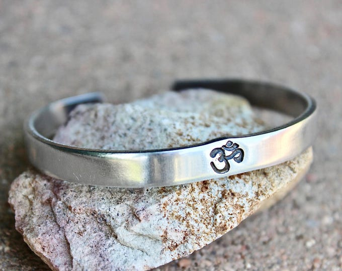Aum Bracelet, Be Here Now Bangle, Aum Cuff, Ohm Jewelry, Ohm Bracelets, Aum Ohm Bangles, Ohm Aum Inspiration, Yoga Inspired Jewelry Meditate