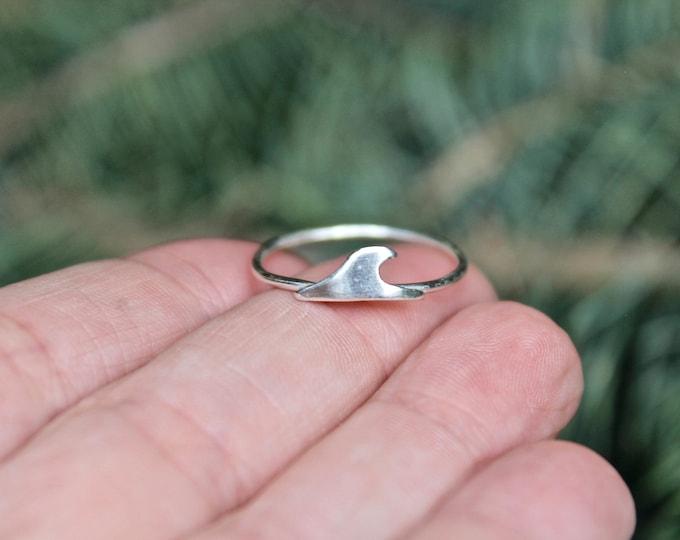 Sterling Silver Dainty Wave Ring, Ocean Jewelry in Sterling Silver