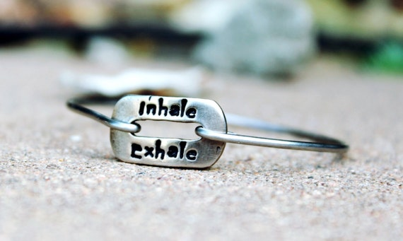 Inhale Exhale Mantra Bangle Bracelet / Mantra Bangle / Inhale Exhale / Gift for Yogi / Mantra Bangle Bracelet / Meditation / White Copper