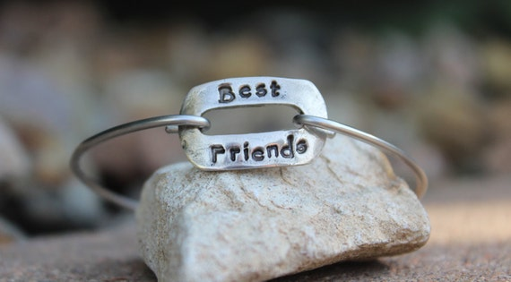 Best Friends Bangle Bracelet / Mantra Bangle / Best Friends / Gift for Best Friend / Mantra Bangle Bracelet / BFF Charm / White Copper