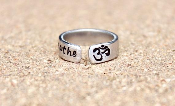 Boho Yoga Ring, Breathe Ring, Aum Breathe, Yoga Jewelry, Breathe Ring, Aum Ring, Boho, Adjustable Ring, Stackable Ring, Yoga Jewelry, Aum