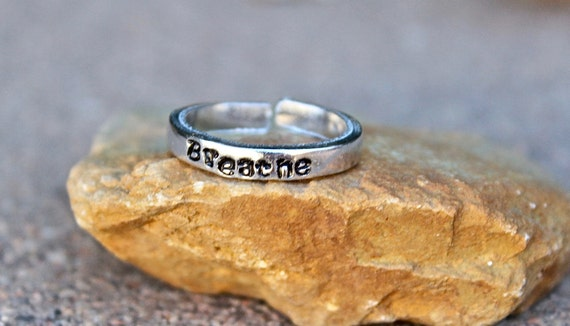 Breathe Mantra Ring - Adjustable Ring - Hand-Stamped - Stackable Ring - Daily Reminder to Breathe - Every Day Inspirational Jewelry