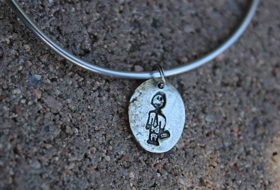 Business Man Charm - Mantra Bangle Bracelets - Family Charms for Bangle Bracelet - Interchangeable - Stick Figure Jewelry -Mantra Charm Only