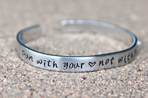 Run with your heart bracelet, bracelet for runners, run with your heart bangle, runner jewelry, bangle for runners, bracelet for runners run