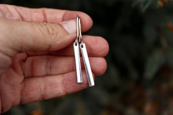 Silver Bar Earrings, Lightweight Aluminum HypoAllergenic Earrings, Bar Earrings, Bar Inch Earrings, Silver Earrings, Silvertone Bar earrings