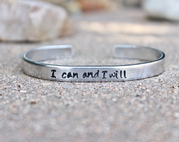 I can and I will, Inspiration Bracelet, Motivational Bangle, Inspirational Bangle, I can and I will, bracelet, Inspiration jewelry, Inspire