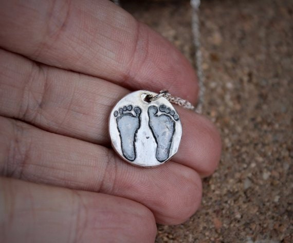 Footprint Charm, Real baby footprint necklace, Baby Footprints, New Baby Gift, Gift for Dad, Gift for New Dad, Gift for New Mom, Footprint