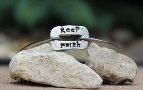 Keep Faith Mantra Bangle Bracelet Hand Stamped Gift / Motivational Jewelry / Inspiration Bangle Bracelet Charms/ Keep Faith / White Copper